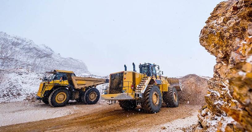 Construction bulldozers