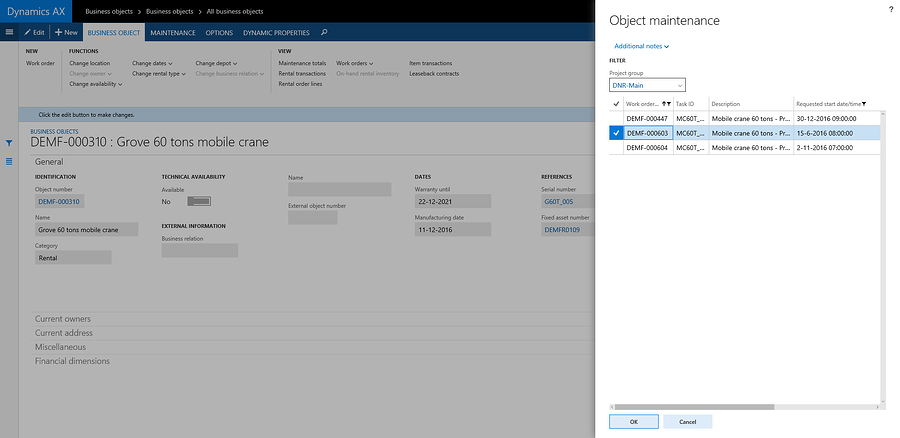 Delayed Maintenance with DynaRent For Microsoft Dynamics