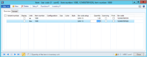 Setting up barcodes for items in Dynamics AX