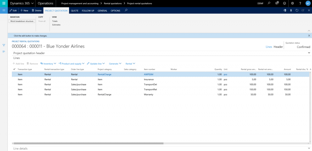 rental project management features in Dynamics 365 for Finance and Operations