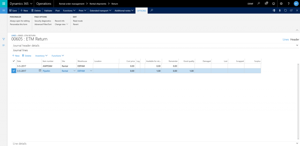 bulk equipment rental in Dynamics 365 for Finance and Operations