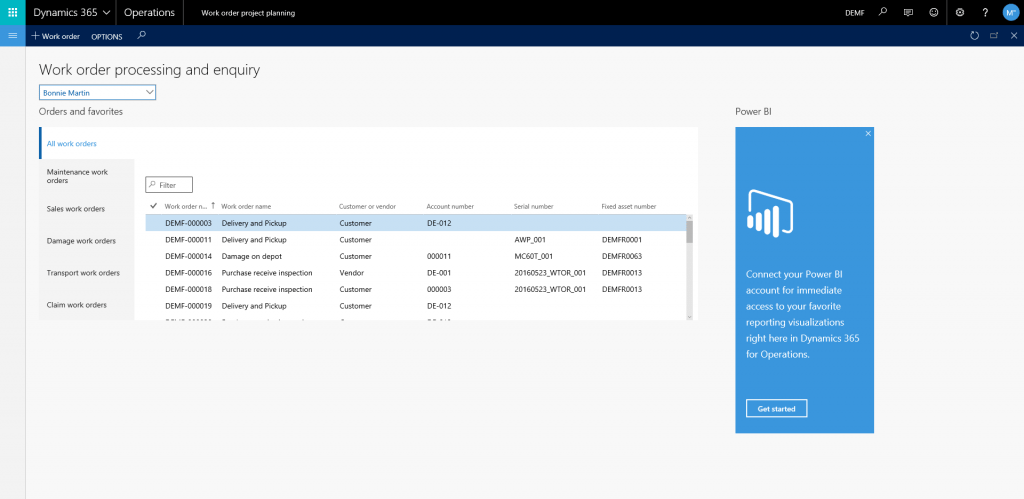 DynaRent Dynamics 365 analytical workspaces for service