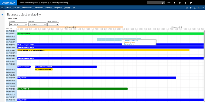 DynaRent Graphical Planning for Microsoft Dynamics 365 Operations
