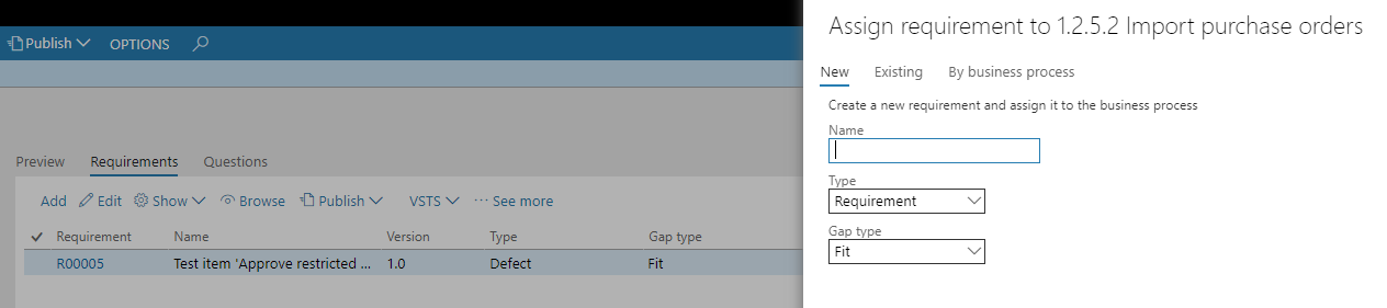 Assign requirement to 1.2.5.2 purchase orders