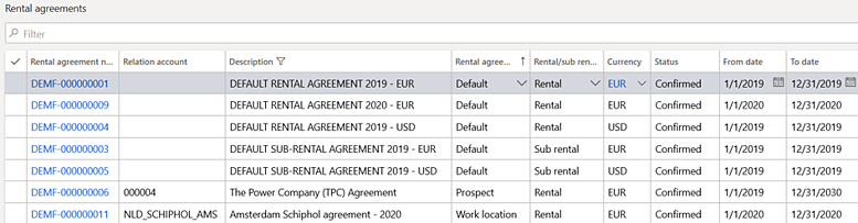 Rental agreements in DynaRent for Microsoft Dynamics 365