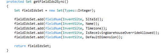 Example of getFieldIds2Sync