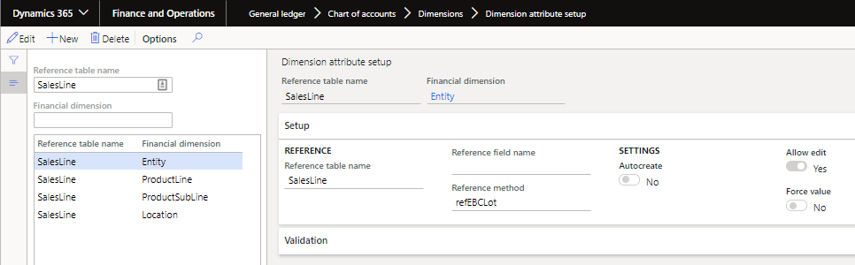 First example of the setup on theSalesLinetable