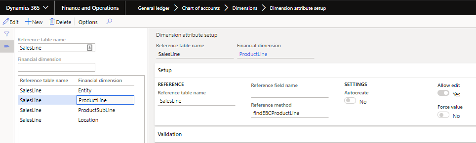 Second example of the setup on theSalesLinetable